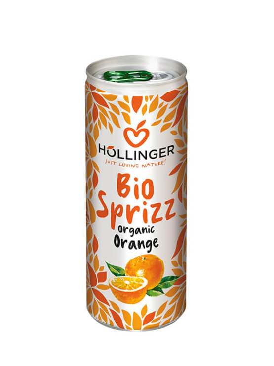 Hollinger ekološki gazirani pomarančni sok v pločevinki, 250ml.