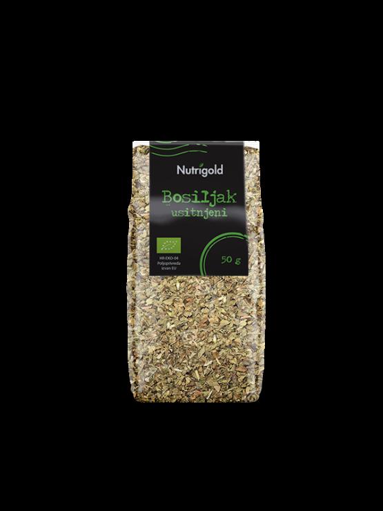 Nutrigold ekološka sesekljana bazilika v prozorni 50 gramski embalaži.