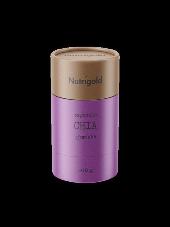 Nutrigold ekološka chia semena v rjavi embalaži, 200g.