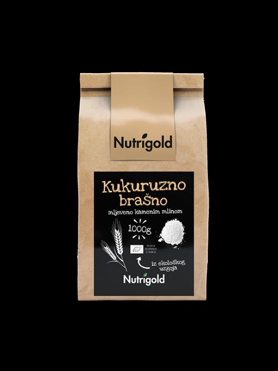 Nutrigold ekološka koruzna moka v rjavi papirnati embalaži, 1000g.