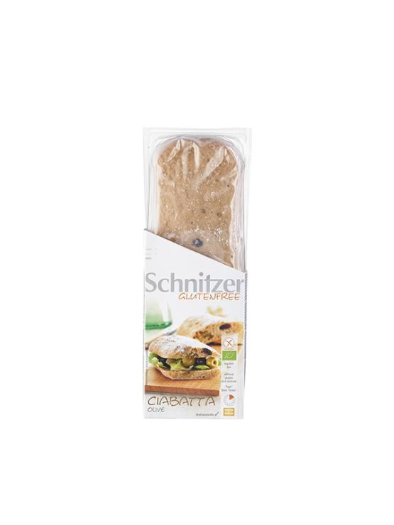 Schnitzer ekoološki brezgluteski kruh Ciabatta z oljkami v prozorni plasttični embalaži, 360g.