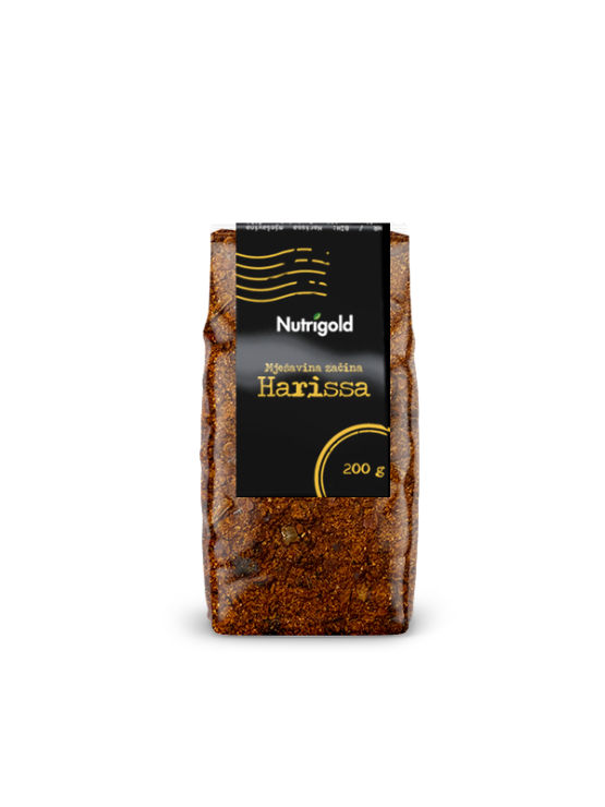 Nutrigold mešanica začimb Harissa v prahu v prozorni plastični embalaži, 200g.