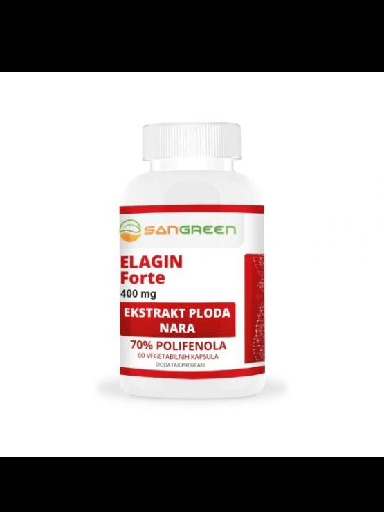 Sangreen Elagin Forte v beli plastični embalaži, 400mg x 60 kapsul.