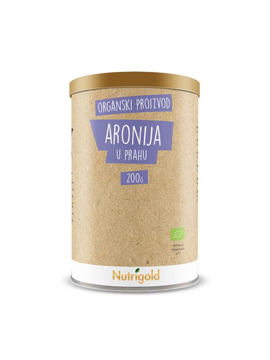 Nutrigold ekološka aronija v prahu v 200 gramski rjavi embalaži.