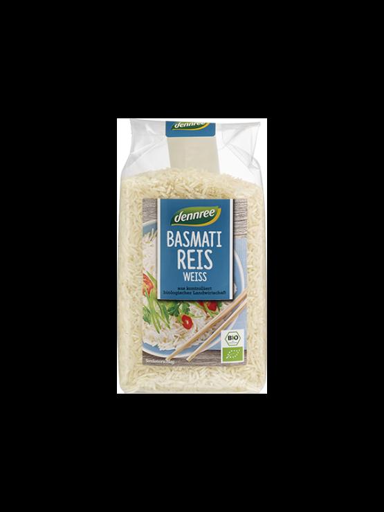 Dennree beli basmati riž v prozorni plastični embalaži, 500g.