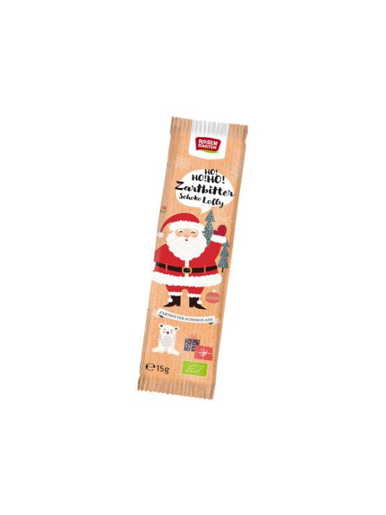 Rosengarten čokoladna lizika v obliku Dedka Mraza 15g v pisani embalaži