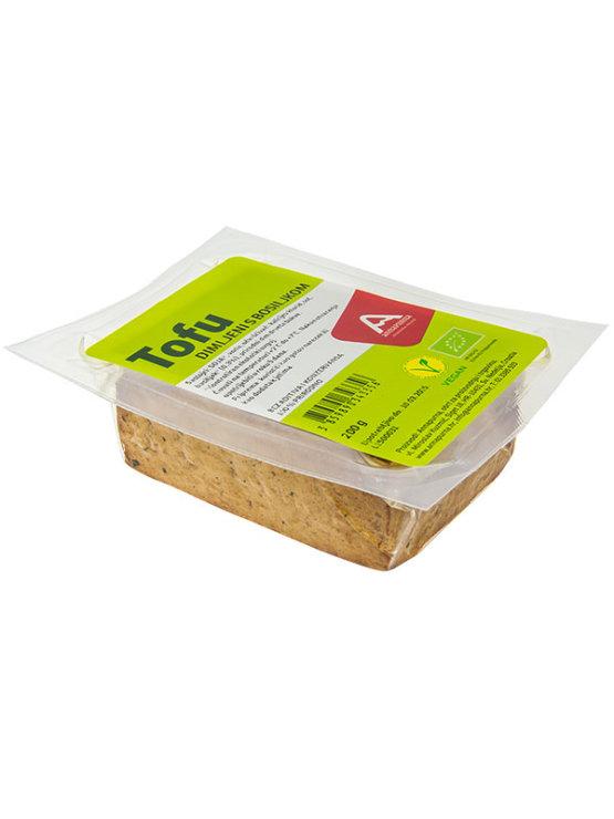 Annapurna ekološki dimljen tofu z baziliko v vakumirani prozorni plastični embalaži, 200g.