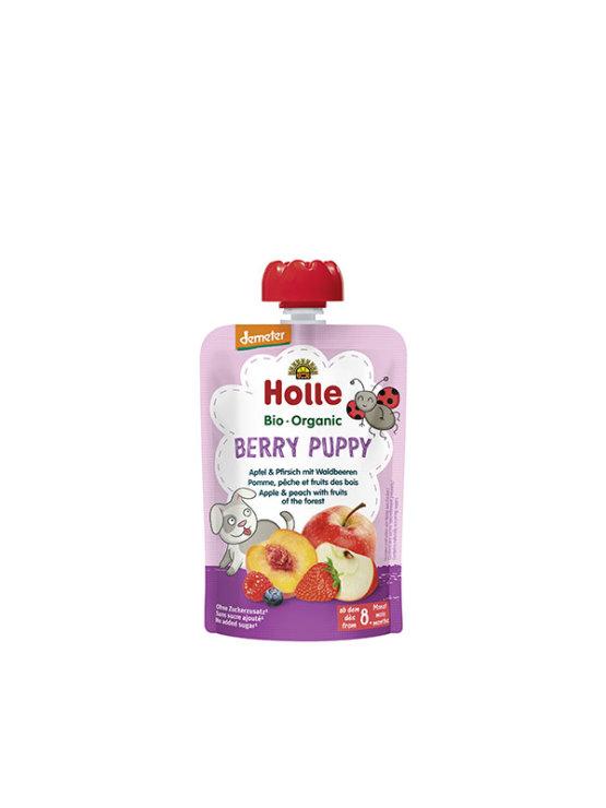 Holle ekološki sadni pire z jabolkom, breskvijo in gozdnimi sadeži, 100g.