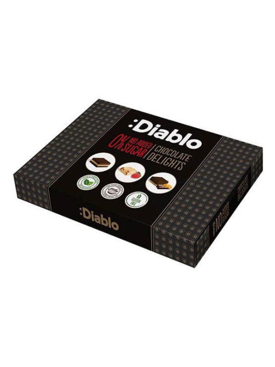 Diablo čokoladne praline brez dodanega sladkorja v črni kartonski embalaži, 115g.
