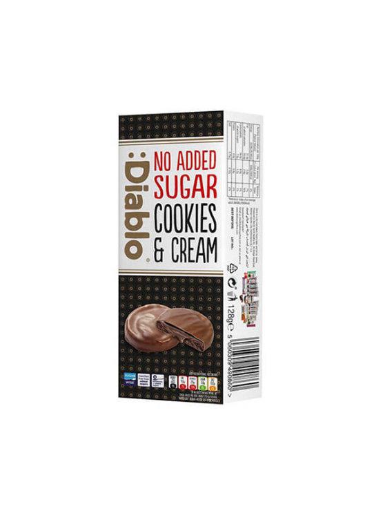 Diablo čokoladni piškoti z nadevom brez dodanega sladkorja v kartonski embalaži, 128g.
