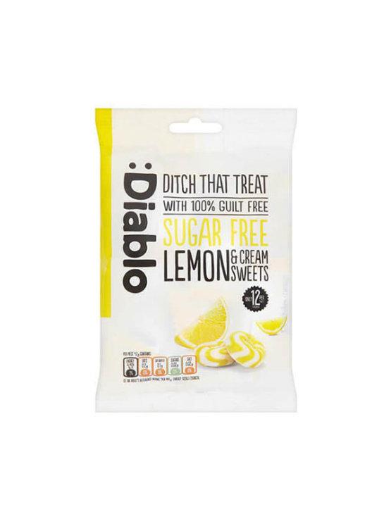 Diablo bonboni z okusom limone brez dodanega sladkorja v plastični embalaži, 75g.
