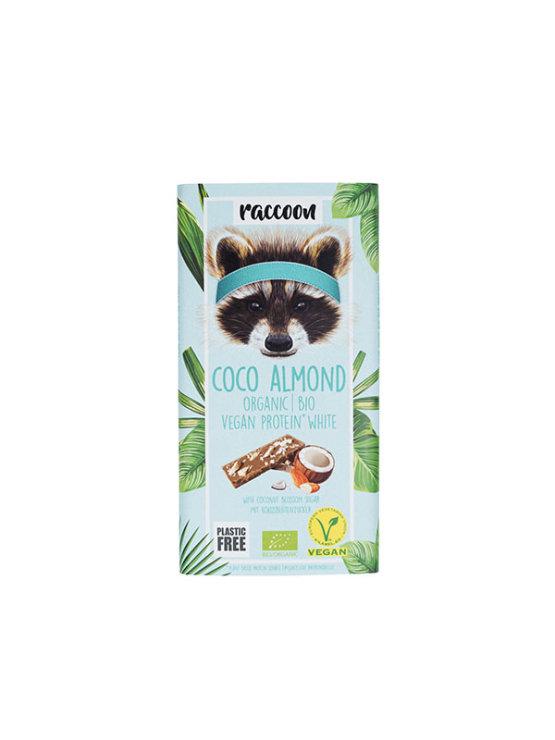 Raccoon veganska ekološka beljakovinska čokolada v papirnati embalaži, 40g.