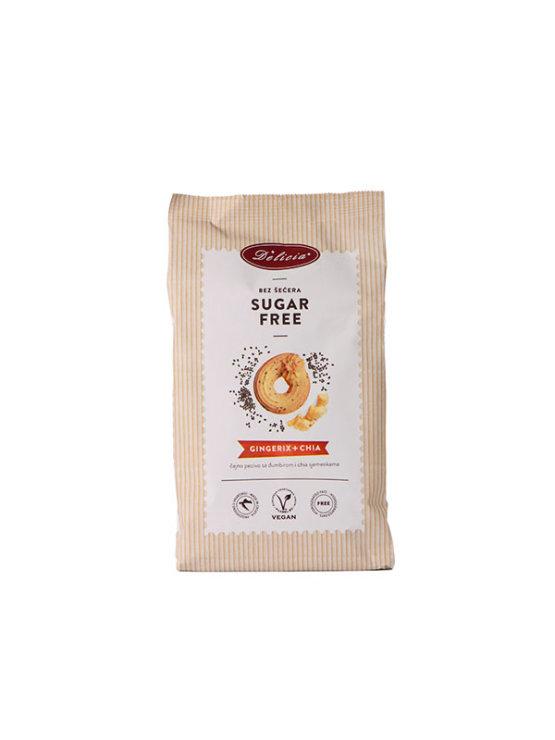 Delicia gingerix piškoti z ingverjem brez sladkorja v papirnati embalaži, 200g.