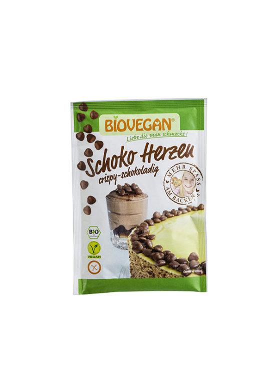 Biovegan čokoladni srčki za okraševanje brez glutena v papirnati embalaži, 35g.