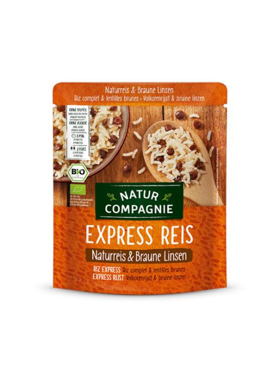 Natur Compagnie express polnozrnati riž in rjava leča v plastični embalaži, 250g.