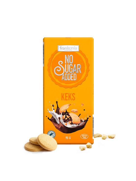 Frankonia čokolada s piškoti in lešniki brez dodanega sladkorja v 90 g embalaži.