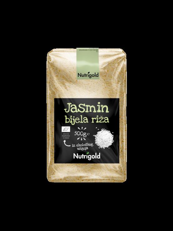 Nutrigold ekološki jasminov riž v prozorni plastični embalaži, 500g.