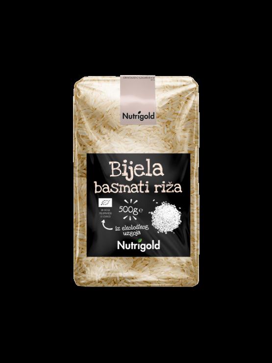 Nutrigold beli basmati riž v prozorni plastični embalaži, 500g.