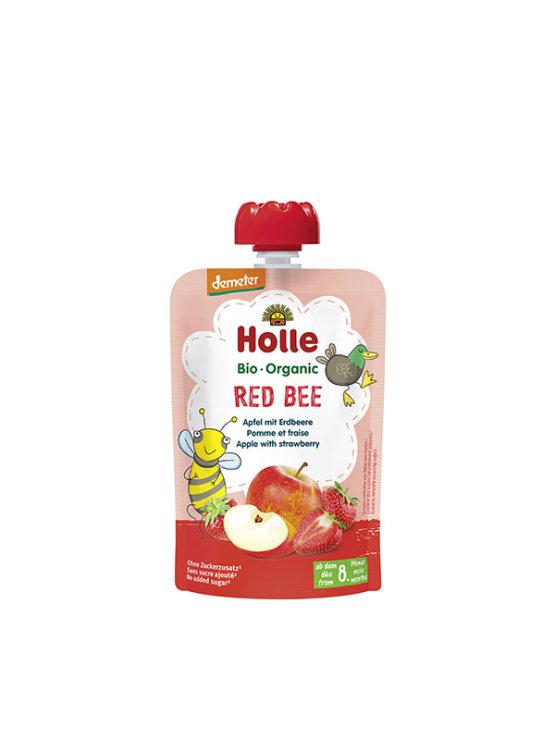 Holle ekološki sadni pire z jabolkom in jagodami vrečki s pokrovčkom, 100g.