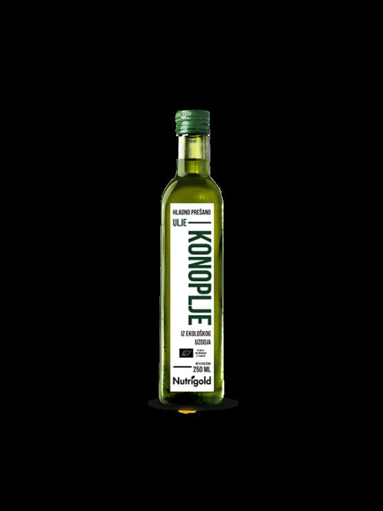 Nutrigold ekološko hladno stisnjeno konopljino olje v steklenici, 250ml.