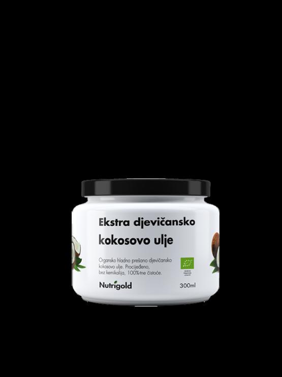 Nutrigold ekološko ekstra deviško kokosovo olje v 300 miliiterskem kozaracu.