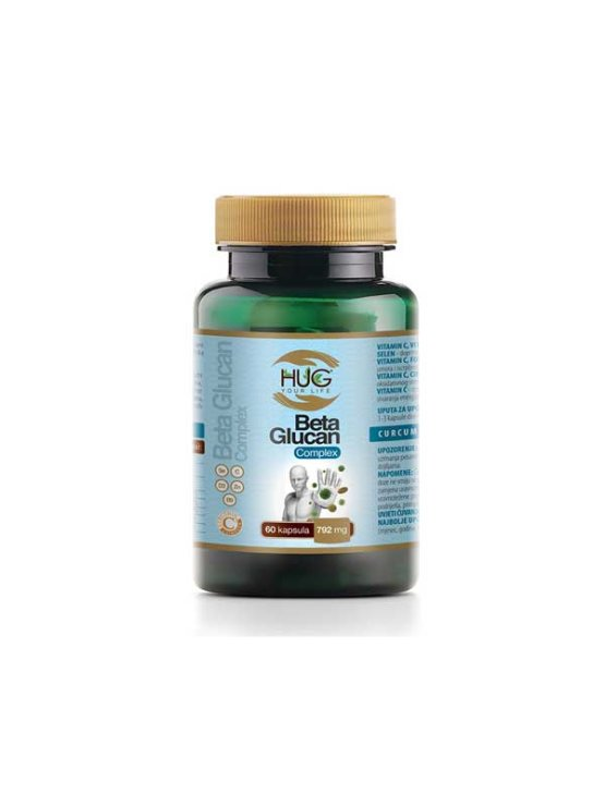 Hug Your Life Beta Glucan premium & C3 Complex 60 kapsul v temni embalaži.