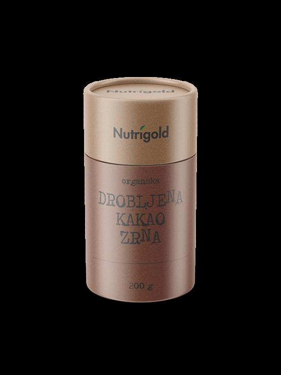 Nutrigold ekološka zdrobljena kakavova zrna v rjavi embalaži, 200g.