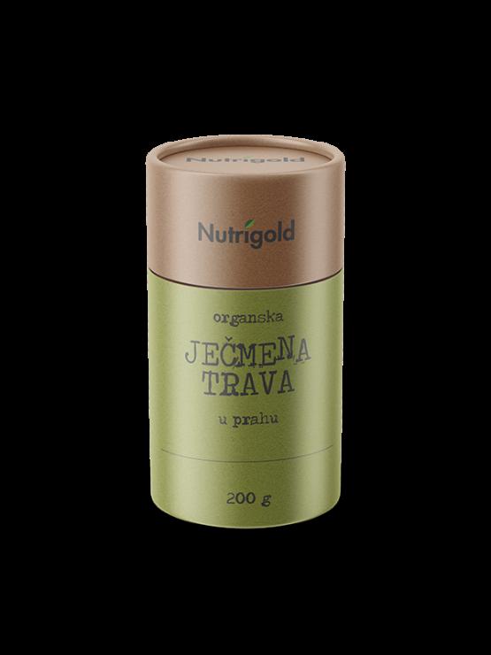 Nutrigold ekološka ječmenova trava v prahu v rjavi embalaži, 200g.