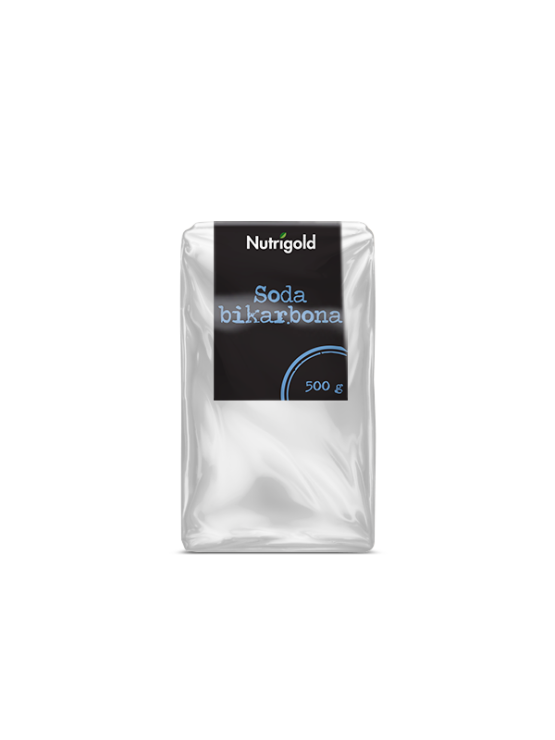 Nutrigold soda bikarbona v prozorni plastični embalaži, 500g.