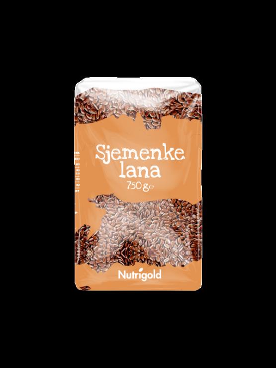 Nutrigold ekološka lanena semena v prozorni plastični embalaži, 750g.