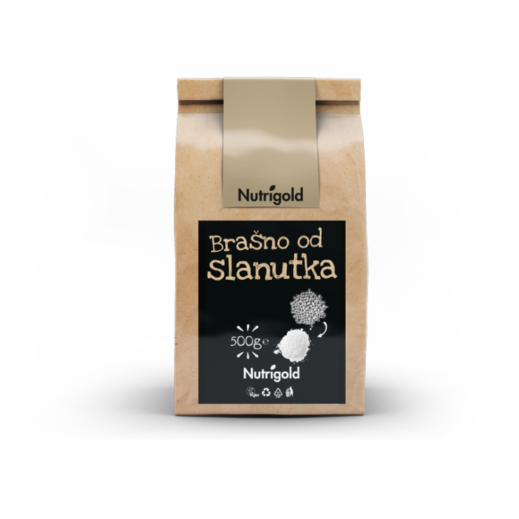 Nutrigold čičerikina moka v rjavi 500 gramski embalaži.