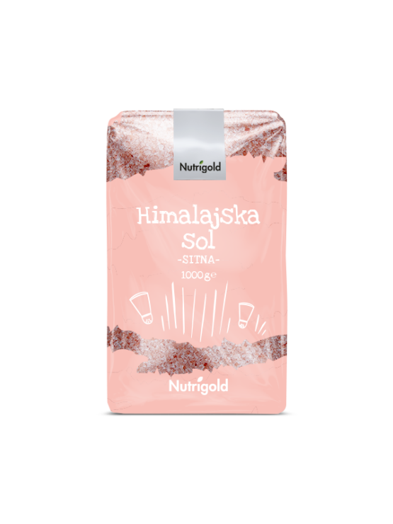 Nutrigold drobno mleta himalajska sol v 1000 gramski prozorni plastični embalaži.