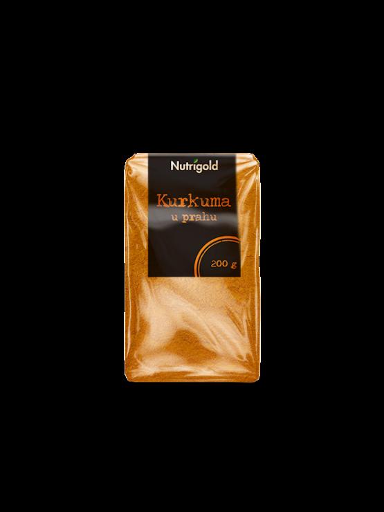 Nutrigold kurkuma v prahu v prozorni plastični embalaži, 200g.