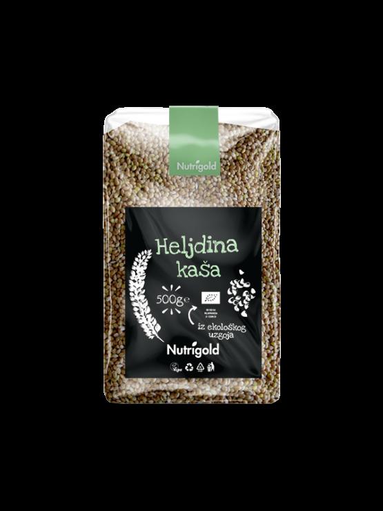 Nutrigold ekološka surova ajdova kaša (oluščena) v 500 gramski prozorni plastični embalaži.