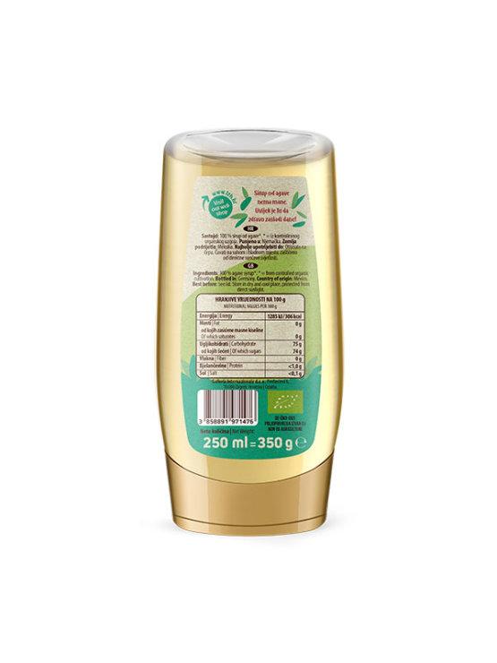 Nutrigold ekološki agavin sirup v prozorni plastenki, 350g.
