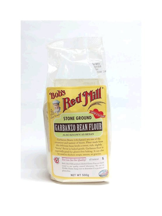 Bob's Red Mill čičerikina moka brez glutena v prozorni plastični embalaži, 500g.